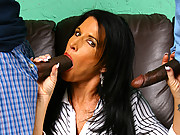 Hot cougar MILF fucks 2 young blacks interracial